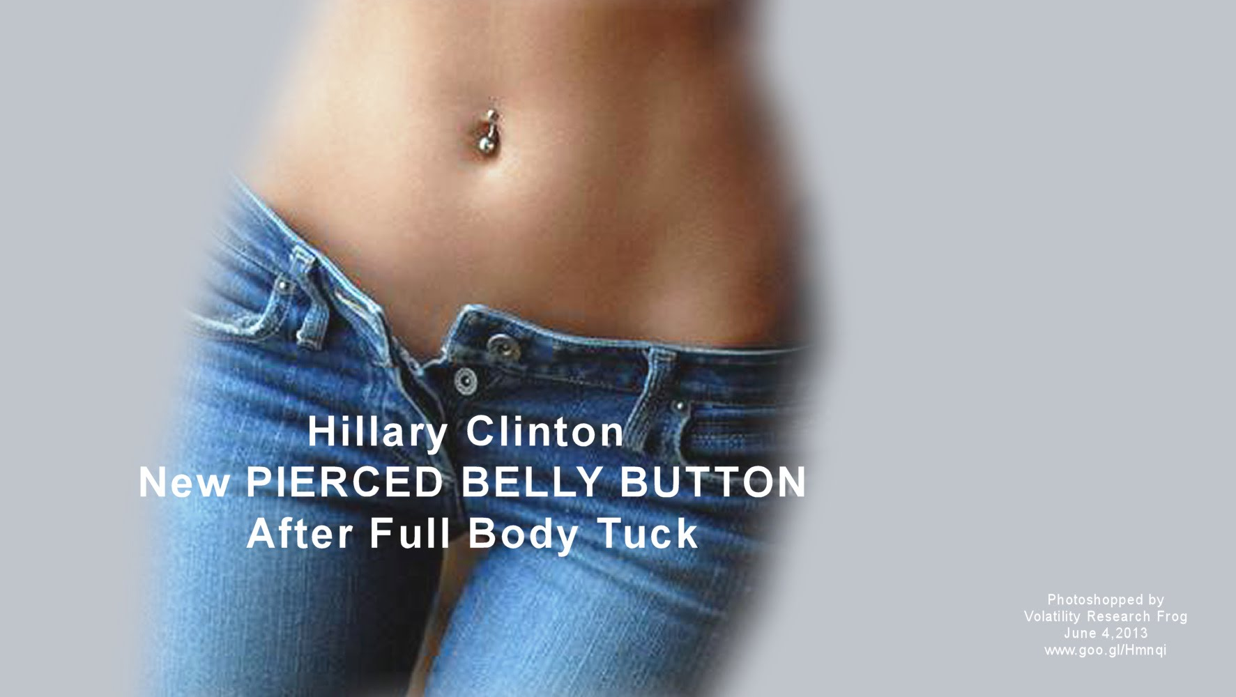 Hillary Clinton New PIERCED BELLY BUTTON After Full Body Tuck (Volatility Research) 1000h2