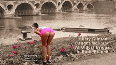 Hillary Clinton Caught Mooning At Oldest Bridge in Paris France (Volatility Research) 1000h4a