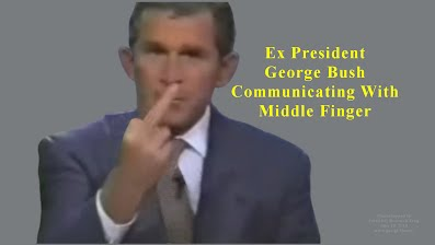 Ex President George Bush Communicating With Middle Finger Only Photo Ever (Volatility Research) 1000h