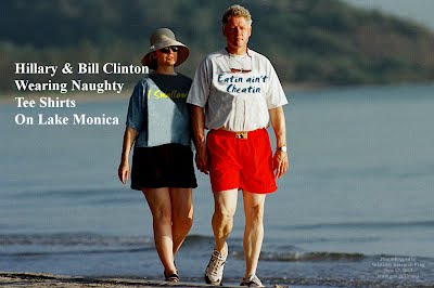 Hillary and Bill Clinton Wearing Naughty Tee Shirts I SWALLOW EATIN AINT CHEATIN (Volatility Research) 1000h27