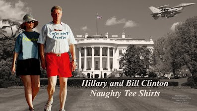 Hillary and Bill Clinton Wearing Naughty Tee Shirts I SWALLOW and EATIN AINT CHEATIN (Volatility Research) 1000h31
