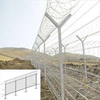Y style single coil and cross coils of Razor Wire fixed to a standard fence provides a good deterrent