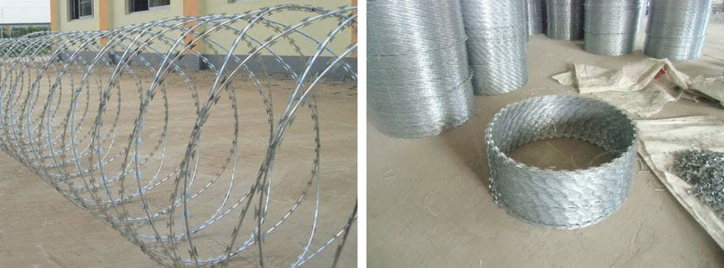 coils concertina razor wire, Razor Ribbon, Security fence, Alambre Concertina, El Alambre Navaja - WM WIRE INDUSTRIAL