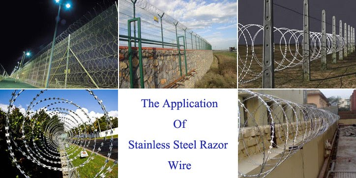 stainless steel barbed wire coils fence application